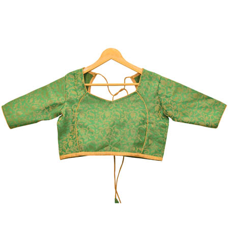 Green and Golden Leaf Silk Brocade Blouse-30096