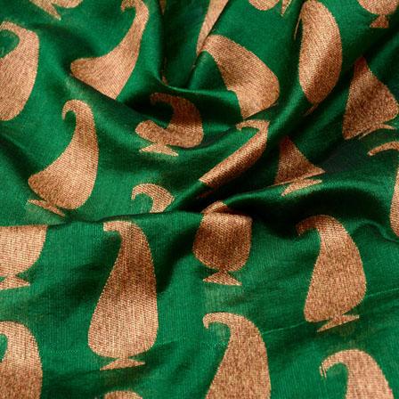 Green and Golden Paisley Design Brocade Silk Fabric-5329
