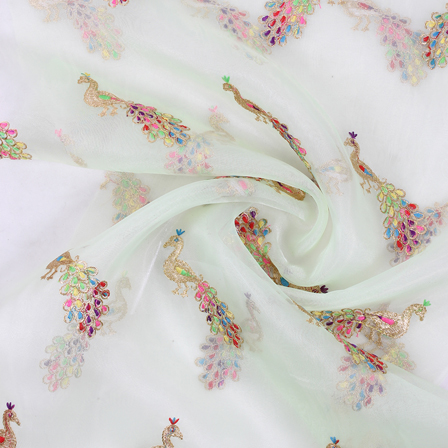 Green and Golden Peacock Organza Embroidery Fabric-51413