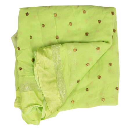 Green Golden Polka Embroidery Chiffon Georgette Fabric-60380