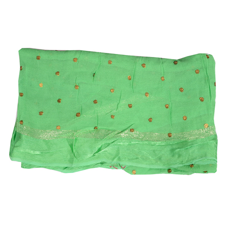 Green and Golden Polka Pattern Embroidery Chiffon Georgette Fabric-60379