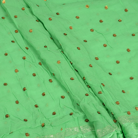 Green and Golden Polka Pattern Embroidery Chiffon Georgette Fabric-60383