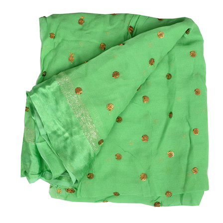 Green Golden Polka Embroidery Chiffon Georgette Fabric-60387