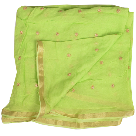 Green Golden Polka Embroidery Chiffon Georgette Fabric-60388