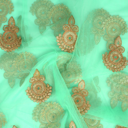 Green and Golden Polka Pattern Embroidery Net Fabric-60294