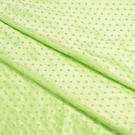 Green and Golden Satin Brocade Fabric-8495