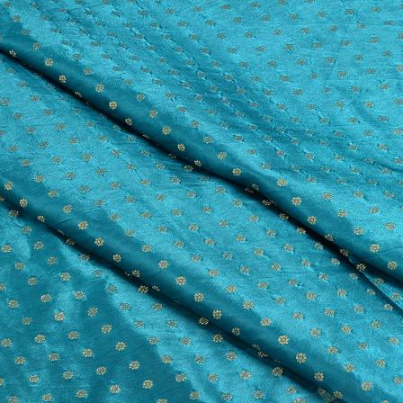 Green and Golden Satin Brocade Fabric-8496