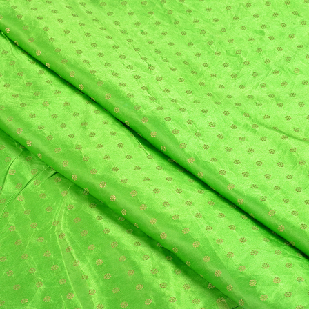 Green and Golden Satin Brocade Fabric-8497