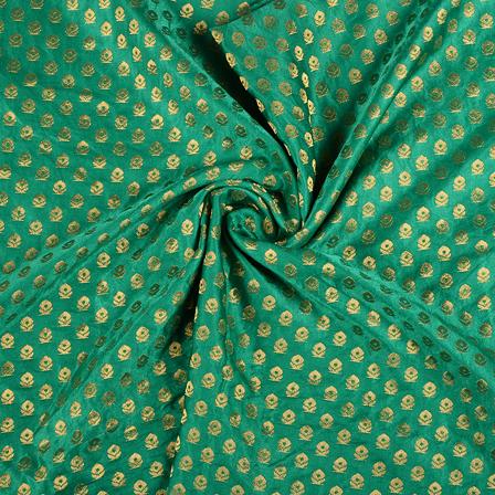 Green and Golden Satin Brocade Fabric-8584