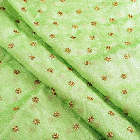 Green and Golden Satin Embroidery Fabric-60632