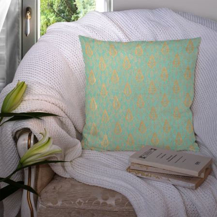 Green and Golden Silk Cushion Cover-35053