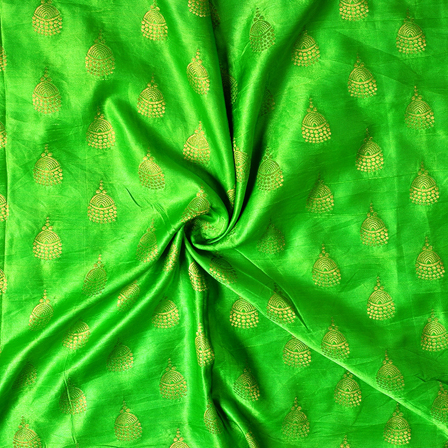 Green and Golden Silk Satin Brocade Fabric-8683