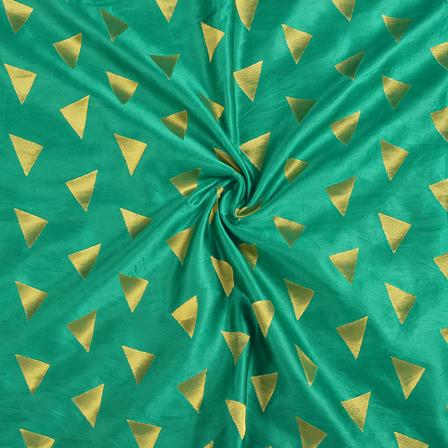 Green and Golden Silk Satin Brocade Fabric-8690