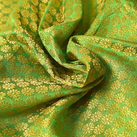 Green and Golden Small Flower Pattern Brocade Silk Fabric-8218