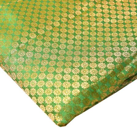 Green and Golden Small Flower Pattern Brocade Silk Fabric-8231