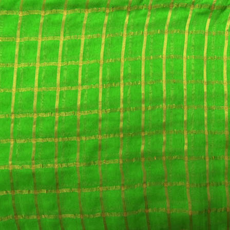 Green and Golden Small Zari Checks Pattern Georgette Cotton Fabric-29006