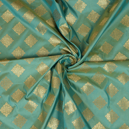 Green and Golden Square Design Two Tone Banarasi Silk Fabric-8405