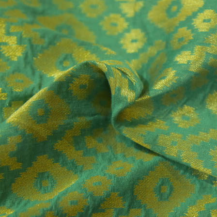 Green and Golden Square Shape Brocade Silk Fabric-8040