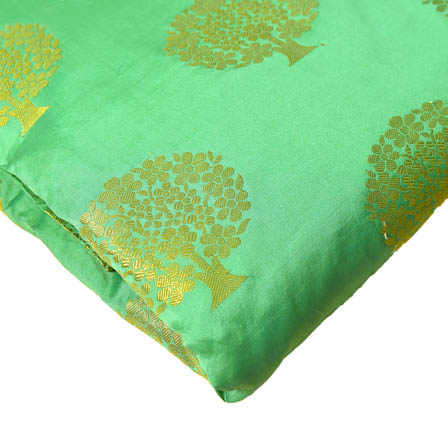Green and Golden Tree Pattern Brocade Silk Fabric-8215