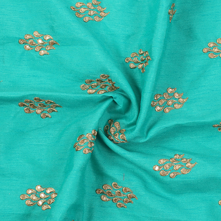 Green and Golden Unique Design Silk Embroidery Fabric-60236