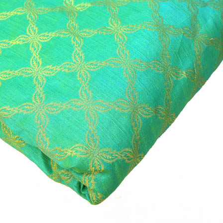 Green and Golden Unique Pattern Brocade Silk Fabric-8166