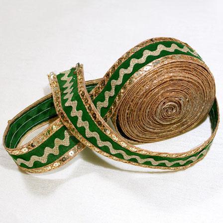 9 MTR Roll of Green and Golden Velvet Zari work Ribbon Lace-4031