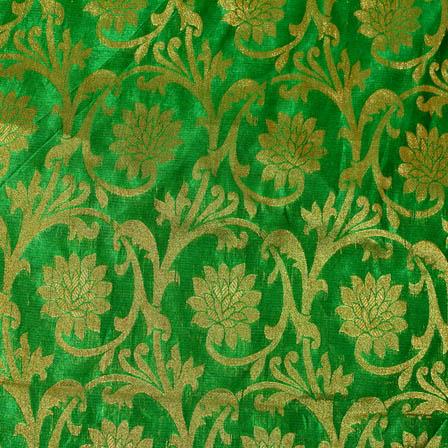 Buy Green And Golden Flower Silk Brocade Fabric 4617