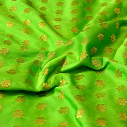 Green and Golden small flower shape brocade silk fabric-4678