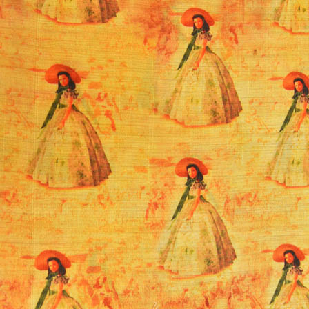Green and Orange Girl Digital Print On Beige Silk Fabric-24014