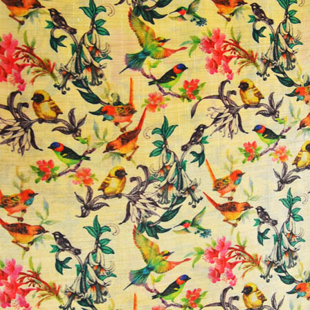 Green and Pink Bird Digital Print On Beige Silk Fabric-24021