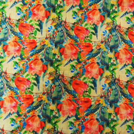 Green and Pink Floral Digital Print On Beige Silk Fabric-24028