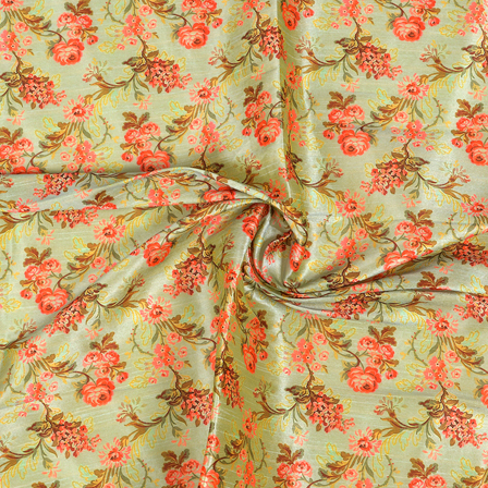 Green-and-Pink-Flower-Design-Digital-Print-Silk-Fabric-24046