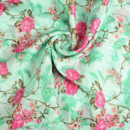 Green and Pink Flower Kota Doria Fabric-25117