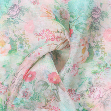 Green and Pink Flower Organza Digital Print Fabric-51371