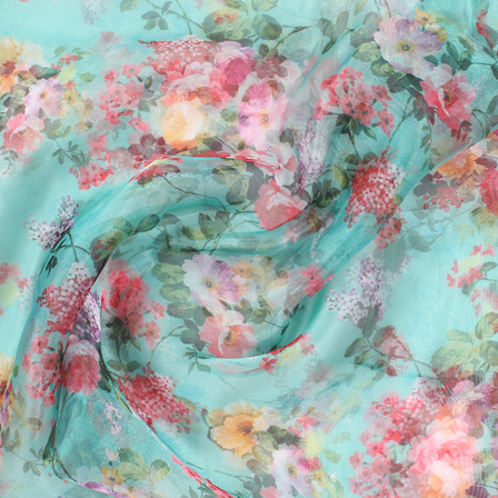 Green and Pink Flower Organza Digital Print Fabric-51387