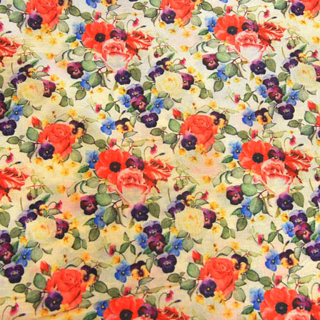 Green and Purple Floral Digital Print On Beige Silk Fabric-24005
