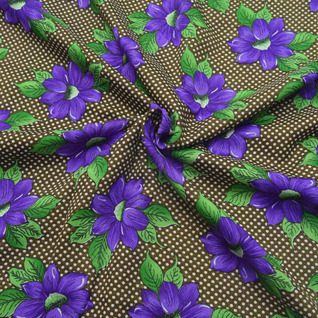 Green and Purple Flower Design Crepe Fabric-18057