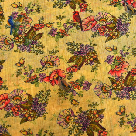 Green and Purple Flower Digital Print On Beige Silk Fabric-24011