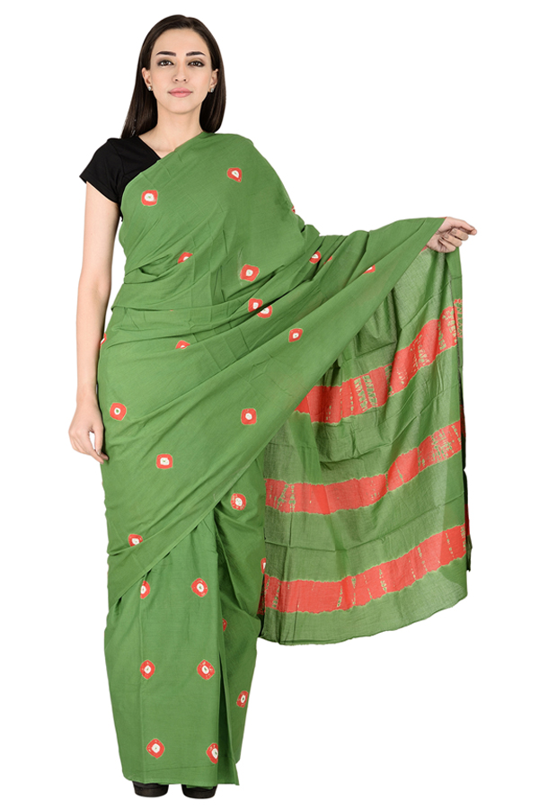 Green and Red Cotton shibori Print Saree-20135