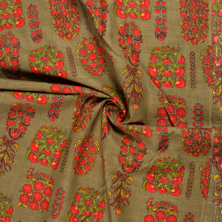 Green and Red Floral Design Jam Cotton Silk Fabric-75069