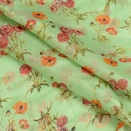 Green and Red Floral Design Organza Silk Fabric-51065