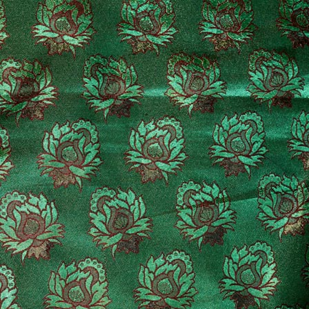 Green and Red Flower Pattern Indian Chanderi Fabric-4392