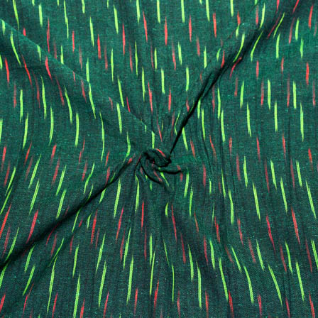 Green and Red Lining Design Ikat Fabric-5686