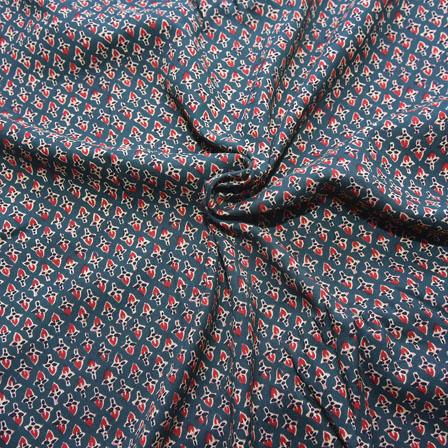 Green and Red Unique Design Block Print Cotton Fabric-14182