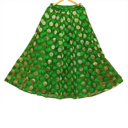 Green and Silver Flower Pattern Banarasi Skirt-23020