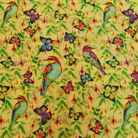 Green and Sky Blue Bird Digital Print On Beige Silk Fabric-24020