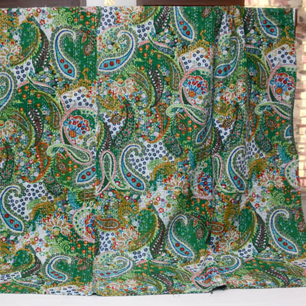 Green and Sky Blue Handmade Paisley Design Kantha Quilt-4381