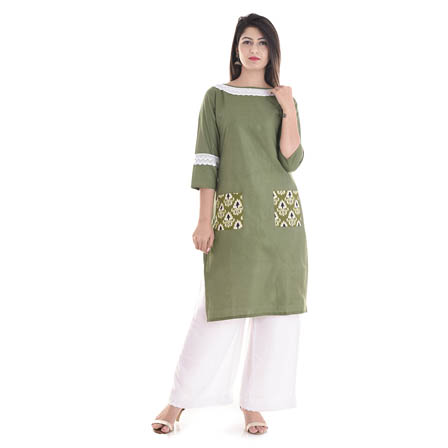 Green and White  3/4  Sleeve Lace Work Cotton Kurti-3042
