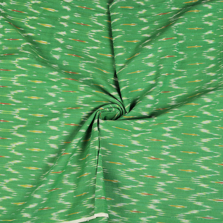 Green and White Cotton Ikat Fabric-12127