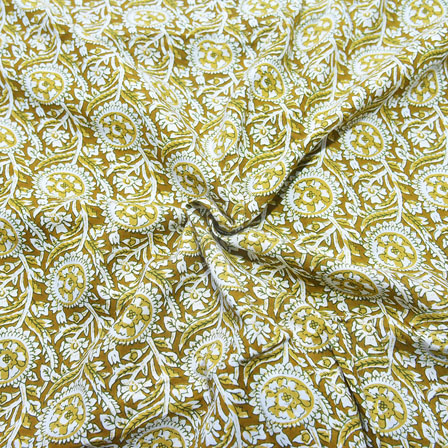 Green and White Floral Design Block Print Cotton Fabric-14183